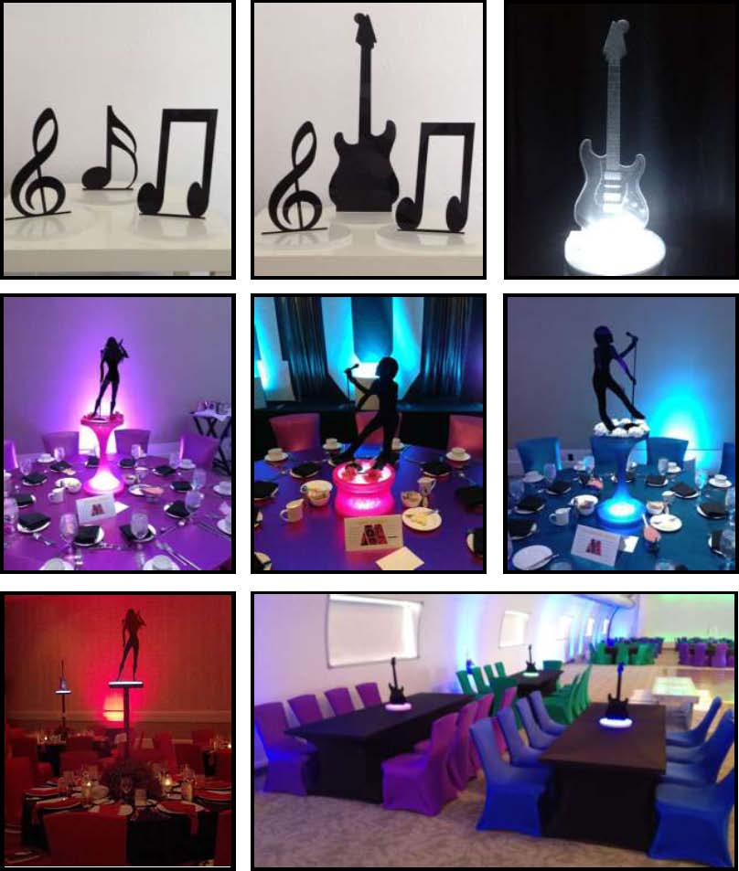 acrylic Shadow Centerpieces - Music