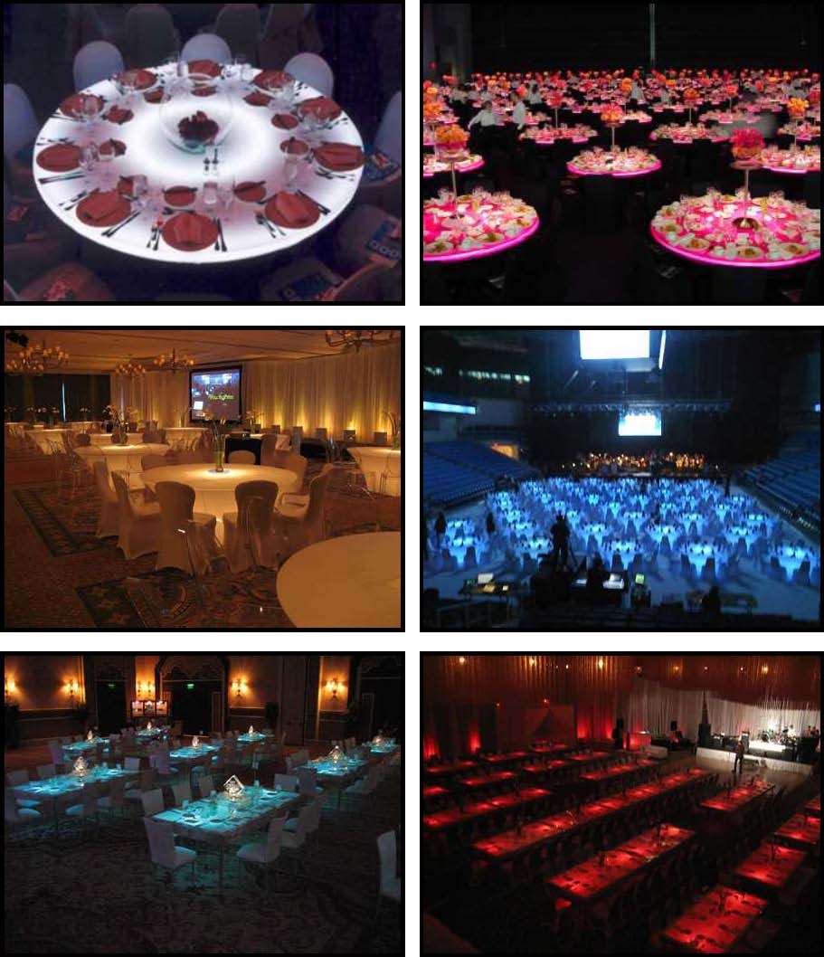 audio video & lighting - glowing dinner tables