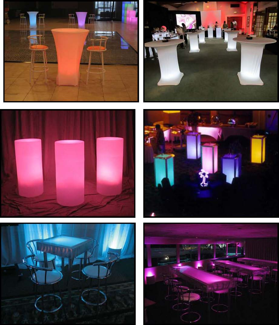 audio video & lighting - glowing standup tables