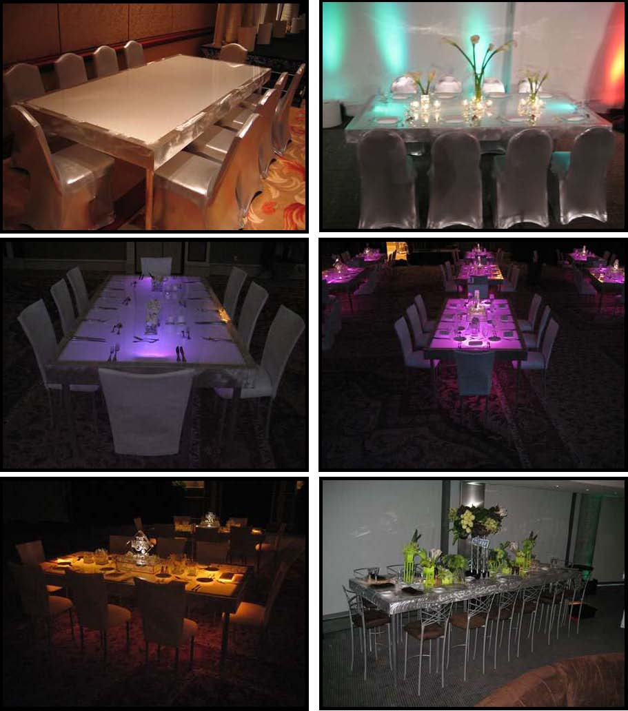 illuminated dinner tables 4 feet x 8 feet