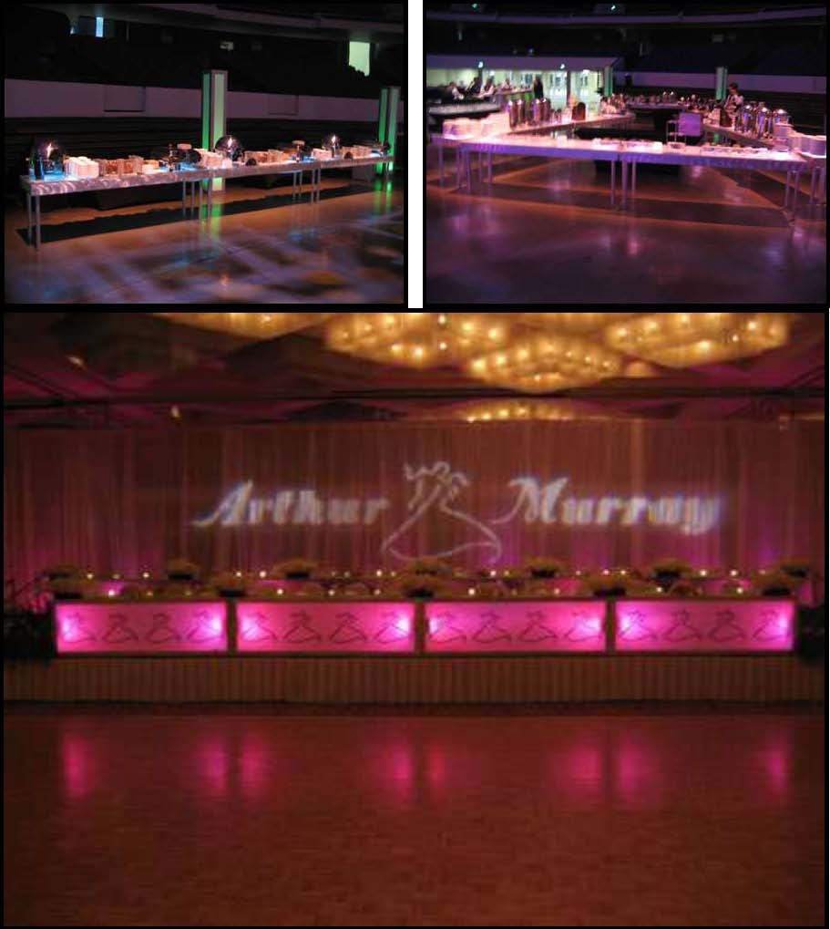 "LED illuminated dinner tables 30""x8'"