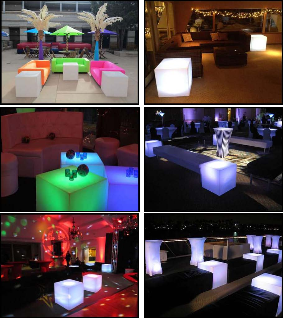 "illuminated rotocast seating cubes 24""x24"""