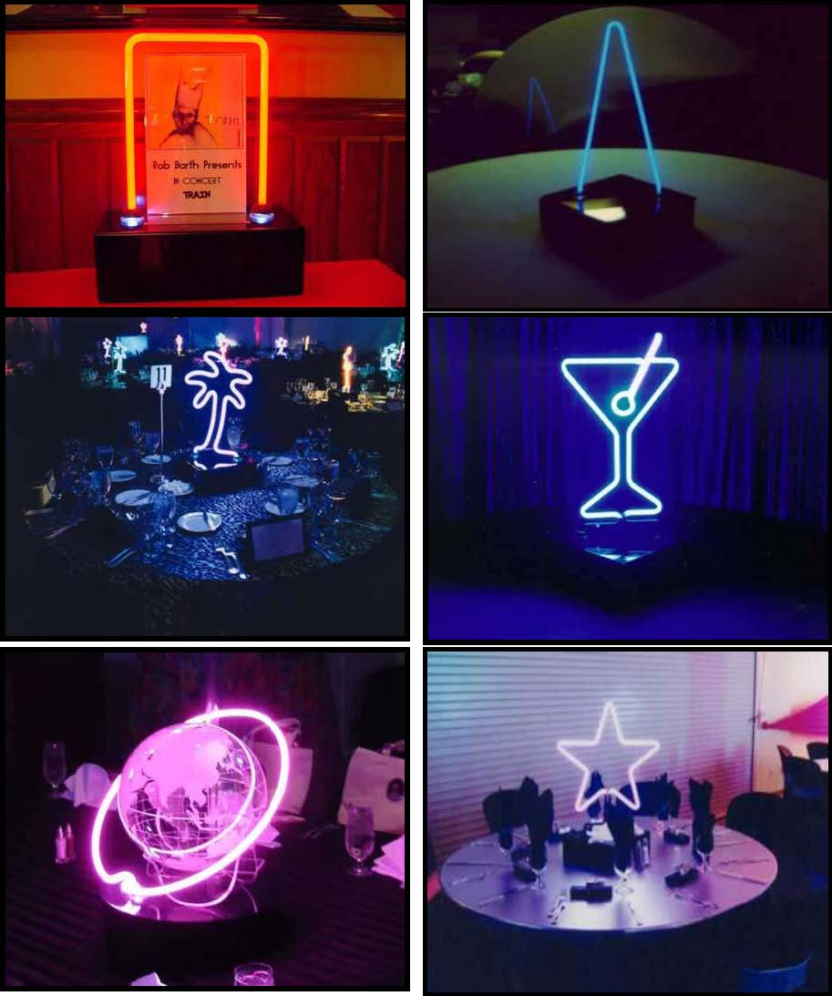 neon centerpieces that are illuminated